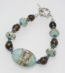 Weathered River Rocks Bracelet in Aqua and Sterling Silver with Lampwork Beads