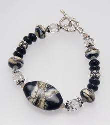 Weathered River Rocks Bracelet in Black and Sterling Silver with Lampwork Beads