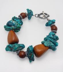 American Indian Turquoise, Bayong Wood and Sterling Silver Bracelet