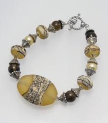 Weathered River Rocks Bracelet in Gold and Sterling Silver with Lampwork Beads
