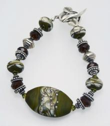 Weathered River Rocks Bracelet in Olive and Sterling Silver with Lampwork Beads