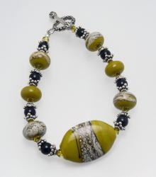 Weathered River Rocks Bracelet in Golden Lime and Silver with Lampwork Beads