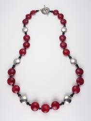 DecoLicious Dimes Necklace - ruby quartz, onyx, art deco, sterling silver