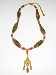 Fleur-de-Lis Gardens Necklace (unakite, pink coral stone, Swarovski crystal)