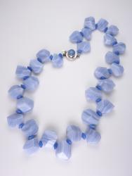 Periwinkle Petals Necklace - blue lace agate, chalcedony, blue quartz (glass)