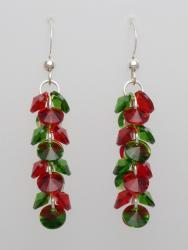 Sterling Silver Christmas Red and Green Dazzling Dangles