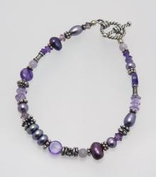 Purple Passion Bracelet - Carrie's Classy Colorways - amethyst, freshwater pearl