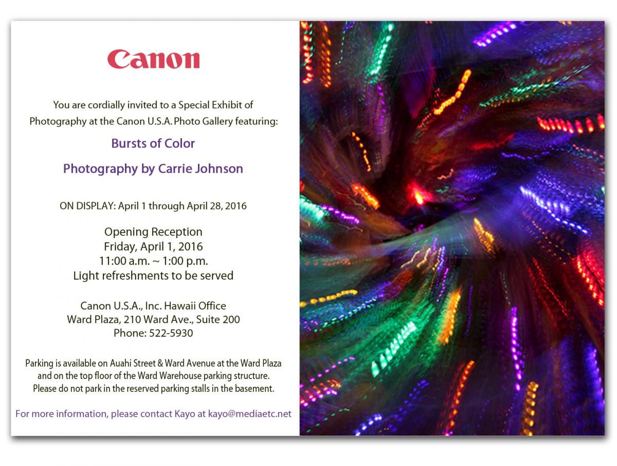 Carrie Johnson - Canon Gallery Show April 2016 - Invite